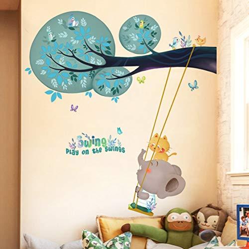 Taoyue Elephant spelen op de schommels dier muursticker voor kinderkamer cartoon muurtattoo kinderkamer baby kinderkamer home decoratie