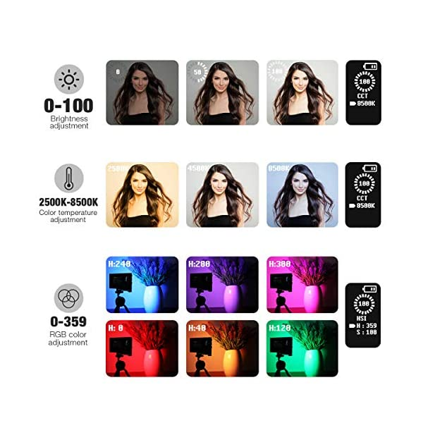 Pixel G1s RGB Video Light, Built-in 12W Rechargeable Battery LED Camera Light Full Color 12 Common Light Effects, CRI≥97…