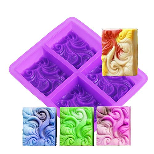Daimay Rectangle Silicone Soap Molds 4 Cavities Cake Baking Mold Sea Wave Resin Mold Candle Mold Pudding Cookie Making Mould Chocolate Mold Ice Cube Tray Baking Pan Homemade Craft - Ocean Wave
