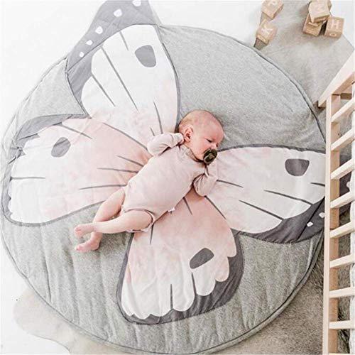 Dreamsbox Tappeto per la cameretta dei Bambini, Rotondo, 90cm Tappetino per Gattonare per Bambini, Tappetino da Gioco Antiscivolo per la casa (Farfalla)