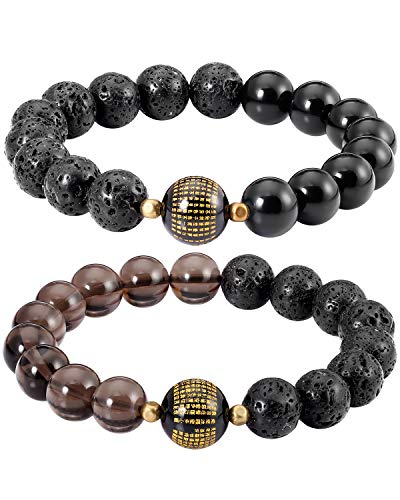 Lightock Lava Rock Couples Bracelets Feng Shui Black Obsidian Wealth Essential Oil Diffuse for Women Men Stretch Attract Good Luck and Wealth(2pcs)