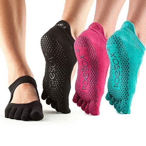 Toesox Bellarina Full Toe Multi Pack - Grip Non-Slip Toe Socks for Pilates, Barre, Yoga, Ballet, Small, Black, Rasberry & Aqua - 3 Pack