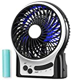 Mini Portable Battery Operated Desk Fan, Rechargeable & USB Powered Handheld Fan with Atmosphere Light & Flashlight, Strong Airflow, 3 Speeds, Small Personal Hand Held Fan for Desktop Camping, Black