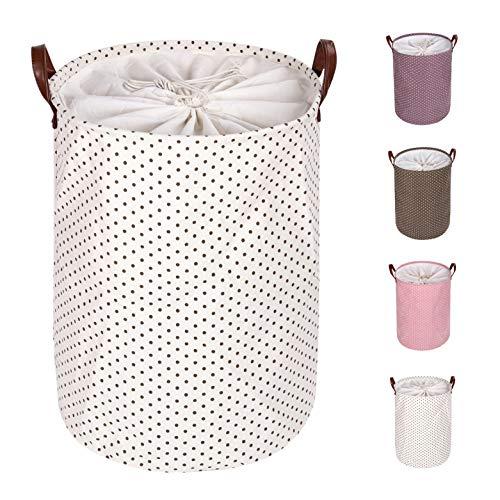Eono Amazon Brand 19-Inches Verdickte Faltbare Runde Lagerung Wäschekörbe, Baumwolle (Braun Punkte, L) EINWEG
