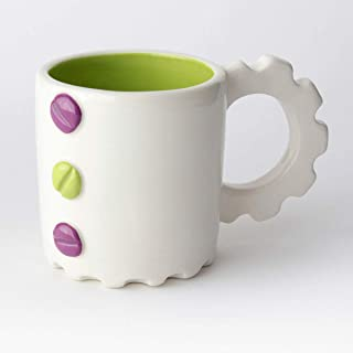 Taza de Cerámica hecha y pintada a mano, Disponible en varios colores, diseño mecánico – 200 ml (Púrpura, Verde)