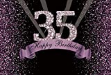 YongFoto 7x5ft Happy 35th Birthday Backdrops Glitter 35 Birthday Photography Background Diamonds Black and Purple 35th Birthday Party for Women Men Cake Table Banner Photo Studio Props