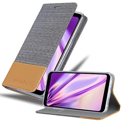 Cadorabo Hülle für LG Q7+ in HELL GRAU BRAUN - Handyhülle mit Magnetverschluss, Standfunktion & Kartenfach - Hülle Cover Schutzhülle Etui Tasche Book Klapp Style