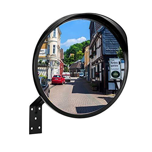 RMAN® Sicherheitsspiegel Ø30cm Verkehrsspiegel Außenbereich Wetterfester Konvexspiegel zur Einsicht von toten Winkeln Konvex Spiegel Überwachungsspiegel Panoramaspiegel Schwarz