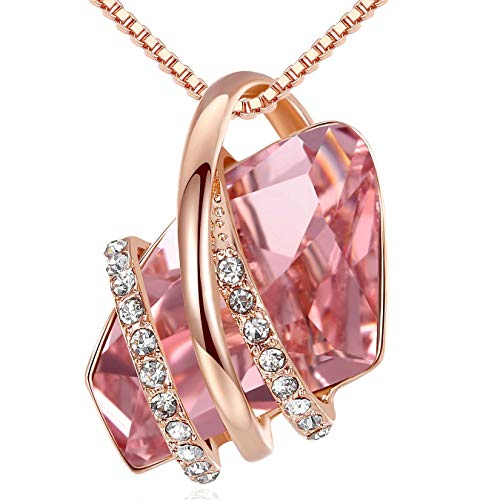 """Leafael Mother's Day Gifts Wish Stone 18K Rose Gold Plated Crystal Pendant Necklace Vintage Pink October Birthstone, 18""""+ 2"""""""