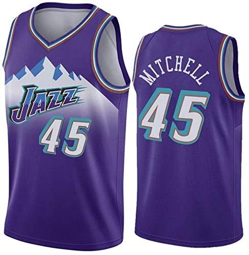 XSJY Jersey De Baloncesto para Hombres - Jazz NBA # 45 Donovan Mitchell Unisex Camiseta Sin Mangas De Malla Bordada Baloncesto Swingman Jersey,XL:180~185cm/85~95kg