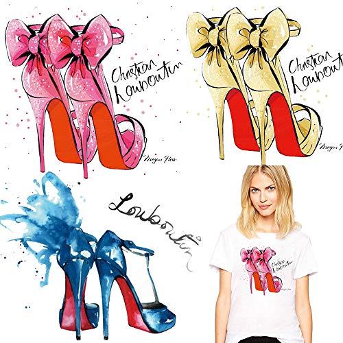 High Heel Shoes Iron on Stickers Set Hot Fashion Heat...