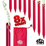 TNH Outdoors 8X Aluminum Tri-Beam Tent Stakes and Bag - Made for Camping - Support A Start Up