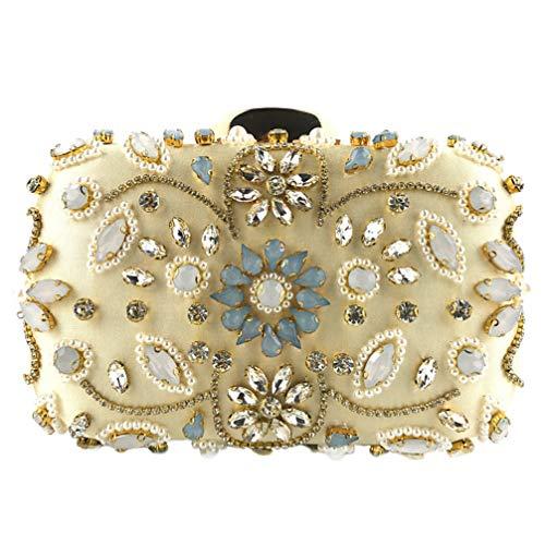 FENICAL Bolso de Noche de Diamantes de Imitación de Embrague de Seda con Cuentas de Embrague Bolso de Cadena Bolso de Noche para Banquete de Bodas (Dorado)