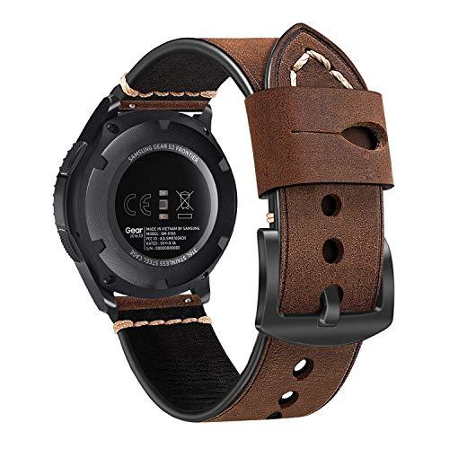 Fintie Correa Compatible con Samsung Galaxy Watch 46mm/Gear S3 Frontier/Gear S3 Classic/Huawei Watch GT - 22mm Pulsera de Repuesto de Cuero Auténtico con Hebilla de Acero Inoxidable, Márron Oscuro