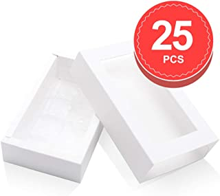 BAKIPACK Truffle Box, Chocolate Box Packaging, Candy Boxes with 8-Piece Plastics Tray(Tray Size with 5.75x2.75 Inches), Pull Out Packing with Clear Window Sleeves, White 25 PCS