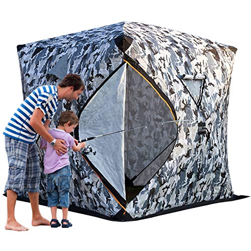 DYJD Winter Tent Pop-Up Portable Camping Warm Tent Outdoors 4 Persons Ice Fishing Shelter for Outdoor Fishing,Fix the bottom
