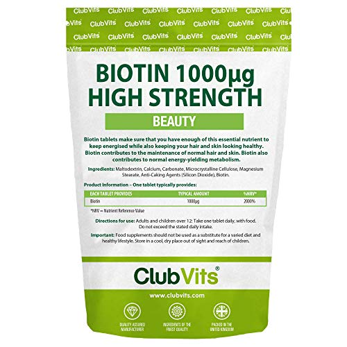 Biotin High Strength Hair Growth Supplement 1000ug - 90 Vegan Biotin Tablets for Hair Supports Normal Skin and Hair Growth ClubVits