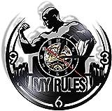yltian My Life My Rules Inspirational Orologio da Parete con Disco in Vinile Fitness Decorazione per la casa Bodybuilding Orologio da Parete Moderno a LED
