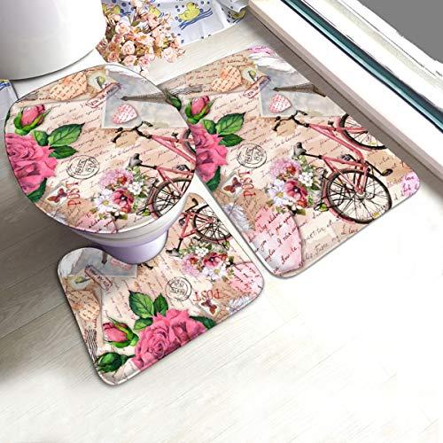 N/R Fiets Met Bloemen In Mand Eiffeltoren Rose U-Shaped Toilet 3 Stuk Badmat Set Badkamer Tapijt Matten Antislip Voor Indoor Contour Tapijt Gepersonaliseerd