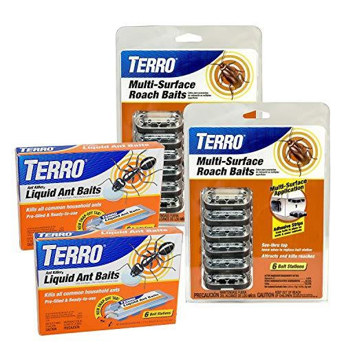Terro Ant & Roach Bait Value Pack - Includes 12 Liquid Ant Baits & 12 Roach Baits