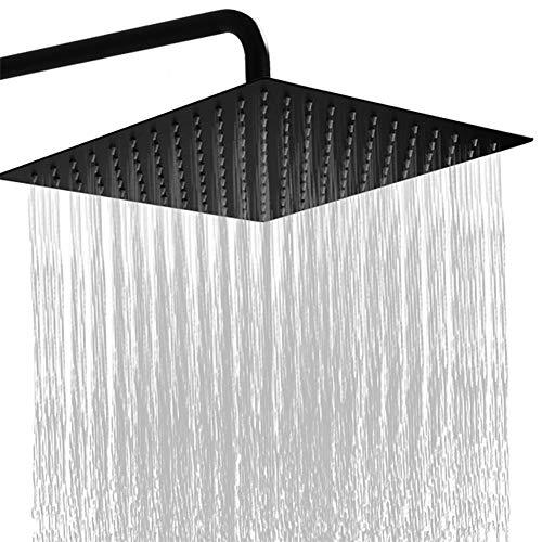 RUNTH Regendusche 8 Zoll Quadratischer Einbauduschkopf 304 Edelstahl Duschkopf Poliert Spiegeleffekt Kopfbrause Regenbrause Mit Anti-Kalk-Düsen 20 X 20 cm Wasserfall Regenduschkopf Schwarz