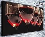Verres à vin rouge panoramique murale encadrée Impression sur toile XXL 139,7x 61cm de plus de 1,4m de large x 0,6m haute prêts à poser