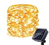Luces led solar faros guirnalda adornos led 100 led 10 m. Luces de exterior. Camper y camping. Adorno terraza jardín porche luz cálida impermeable resistente al agua. Luz automática 8 modos