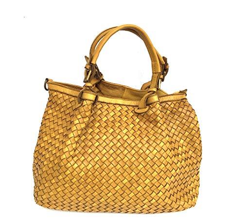 Superflybags Damentasche Handtasche Echtes Leder Geflochten/Gewaschen Modell GRANADA Made In Italy