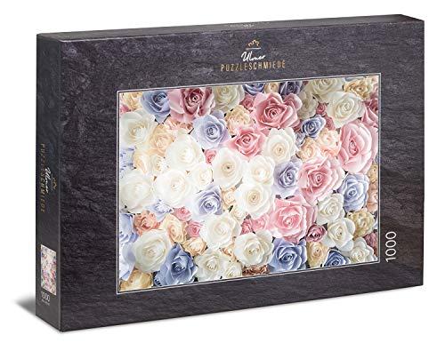Ulmer Puzzleschmiede - Puzzle Rosa Amore - Petali di Rosa Festivi in Design Vintage