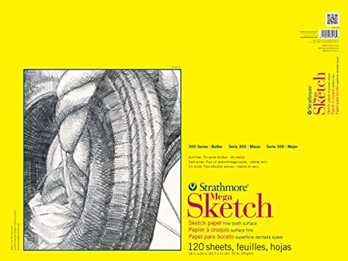 Strathmore 300 Series Sketch Pads 18 in. x 24 in. glue bound 120 sheets