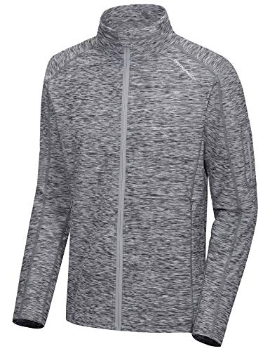 Dasawamedh Men's Running Sport Track Jacket Full Zip Workout Athletic Fitness Jackets for Training with Thumb Holes Black Heather XXL