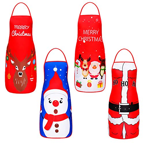 Hupan 4 Pieces Christmas Aprons Funny Cartoon Apron Adjustable Kitchen Cookie Apron for Xmas Party, 4 Styles (A, 4)