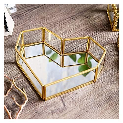 Bandeja de joyería de cristal con borde dorado en forma de corazón, caja de exhibición transparente, tocador, baño y decoración del hogar