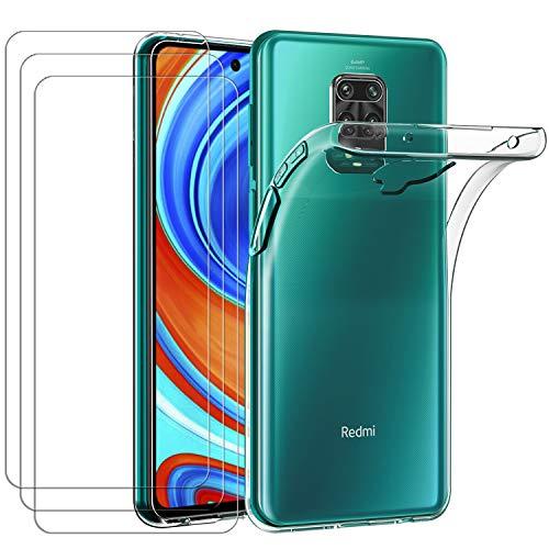 ivoler Hülle für Xiaomi Redmi Note 9S / Xiaomi Redmi Note 9 Pro + [3 Stück] Panzerglas, Durchsichtig Handyhülle Transparent Silikon TPU Schutzhülle Case Cover mit Premium 9H Hartglas Schutzfolie Glas