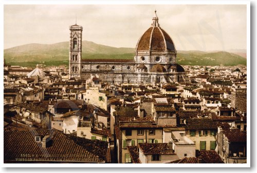 Florence Italy - View of the Duomo 1897 - NEW World Travel Poster