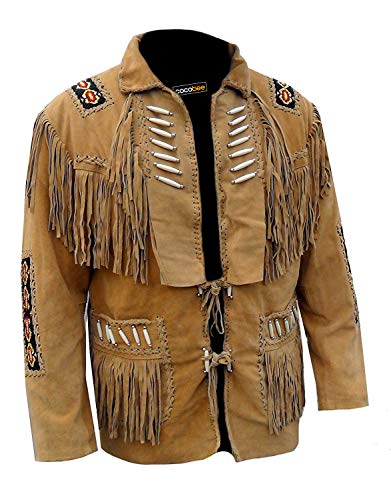 COCOBEE Lightweight Men's Western Cowboy Real Suede Leather Jacket with Fringe and Beaded American Jacket Black