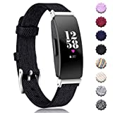 Maledan Replacement for Fitbit Inspire HR Inspire Bands Women Men, Woven Fabric Accessories Strap Wrist Band Compatible with Fitbit Inspire/Inspire HR Fitness Tracker, Black, Small