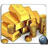 Monedas de lingotes de Oro Patrón de Dinero Rectángulo Personalizado Alfombrilla de ratón de Goma Antideslizante Alfombrillas de ratón para Juegos