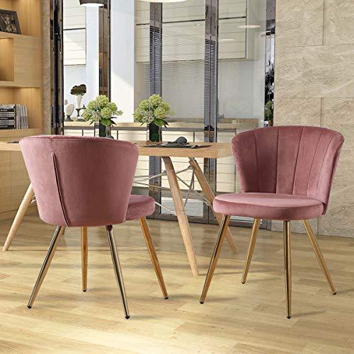 Zoyo Pack 2 Sillas de Comedor de Terciopelo Rosa Sillas de Cocina Modernas Tapizado Sillas de Salón