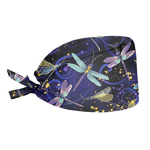 UNICEU Women's Dragonfly Print Working Hat, Adjustable Lace-Up Polyester Cotton Sweatband Cap Head Cover, One Size