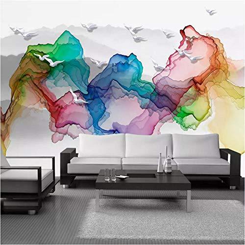 3D-muurschildering, behang, abstract, berg, waterverf, Nieuw-se stijl, wandbehang, voor woonkamer, slaapkamer, muren 300x210cm