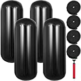 Mophorn Boat Fenders 10 x 28 inches, Vinyl Boat Fender Pack of 4, Ribbed Twin Eyes Boat Bumpers Black and Pump to Inflate