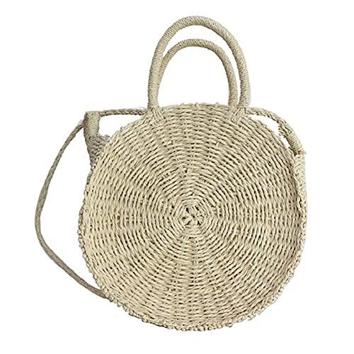 CestnYuun Bolso de Paja para Vacaciones en la Playa con Cuerda de Hierba, Bolso de Paja Redondo de Ratán para Mujer, Regalo de Embrague para Mujer (blanco)