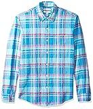 Amazon Essentials - Camisa de lino con manga larga, corte entallado y estampado para hombre, Aguamarina Cuadros, US XL (EU XL - XXL)