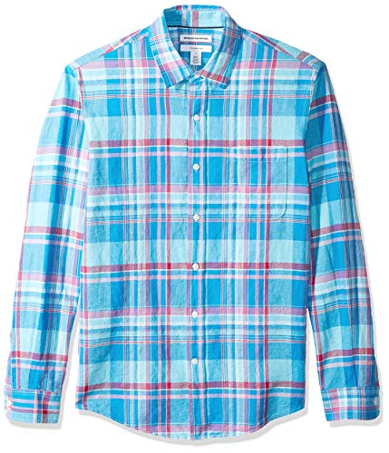Amazon Essentials - Camisa de lino con manga larga, corte entallado y estampado para hombre, Aguamarina Cuadros, US L (EU L)