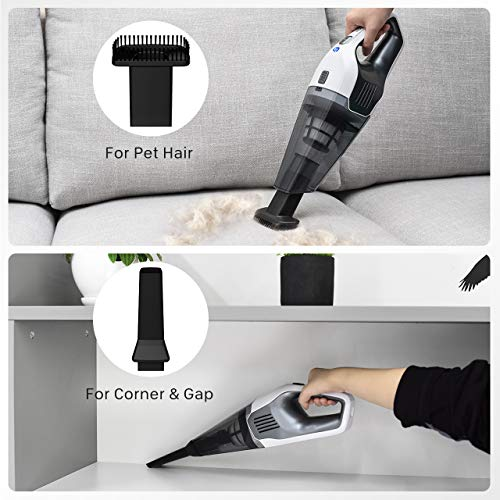 Holife Handheld Cordless Vacuum Cleaner with 11.1V Li-ion Battery Powered Rechargeable Quick Charge Tech and Cyclone Suction Lightweight Hand Vac, Black