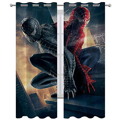SSKJTC Rideaux occultants avec miroir Spiderman rouge et noir pour fenêtre d'intérieur (183 x 160 cm)