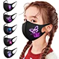 5PC Kids Reusable Face_Masks for Boys Girls Washable Butterfly Printed Face Bandana Breathable Dustproof Ice Silk Thin Fabric for Children Outdoor School [US Stock]