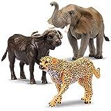 Kid Galaxy 9' Posable Safari Animal Set – Cheetah, Elephant, Hippo 9' (3 Piece), Yellow, Black, Grey, Brown