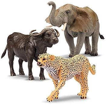 Kid Galaxy 9  Posable Safari Animal Set – Cheetah Elephant Hippo 9   3 Piece  Yellow Black Grey Brown